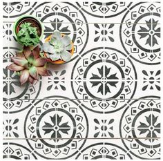MORELLO Tile Stencil for Painting Concrete Laminate Floor Wall Tiles Porch Patio Flags Kitchen Bathroom Floor Wall Leaf Stencil, Stencil Painting, Stenciling, Wall And Floor Tiles, Wall Tiles, Mediterranean Tile, Mediterranean Architecture, Crazy Paving, Brittany