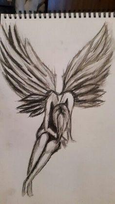 2 hours sketch Fallen Angel # 2 sad drawings - Drawing Tips Sad Sketches, Sad Drawings, Dark Art Drawings, Pencil Art Drawings, Art Drawings Sketches, Sketch 2, Beautiful Drawings, Beautiful Pictures, Angel Sketch