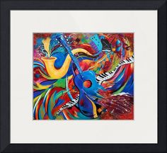 """""""Wild Music Night Life Guitar Jazz Music Print"""" by Julie Borden, Rehoboth Beach // Night Life is a fun and colorful painting by artist Julie Borden of Juleez.  A blue guitar meets a saxophone while piano keyboards float through a bold and striking colored background.  The city in the back is alive and well and everyone is out and about for a night on the t... // Imagekind.com --"""