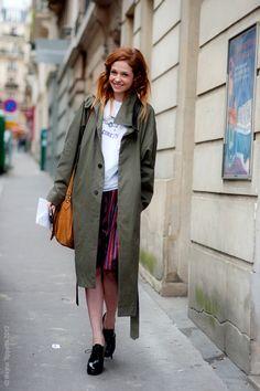 Khaki coat and striped skirt