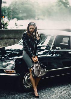 leather jacket. pencil skirt. black pumps