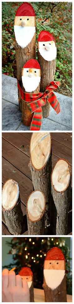 DIY Santa Logs ~ A cute Danish Nisse out of cedar logs.