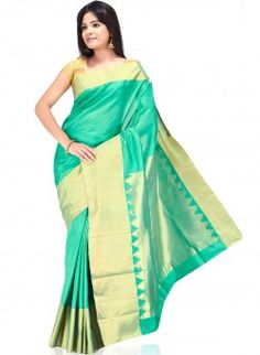 Turquoise and Gold Pure Silk Saree