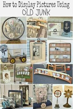 Twelve ways to display pictures using old junk. Ideas on how to create unique picture holders with ordinary flea market finds. Unique Picture Frames, Thrift Store Crafts, Thrift Stores, Picture Holders, Repurposed Items, Recycled Decor, Trash To Treasure, Home And Deco, Photo Craft