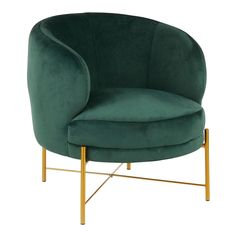 Chloe Contemporary Accent Chair in Gold Metal & Emerald Green Velvet - LumiSource CHR-CHLOE AUVGNAdd a dash of glam to your living space w/ the Chloe Accent Chair. w/ a rich velvet upholstered seat & backrest, stylish tufting, & plush padding, the Chloe i Green Accent Chair, Velvet Accent Chair, Green Velvet Chairs, Colorful Accent Chairs, Teal Chair, New Living Room, Living Room Chairs, Living Area, Chloe