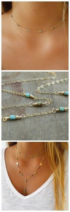A delicate gold and turquoise short necklace. Perfect to wear alone or layered with other necklaces.