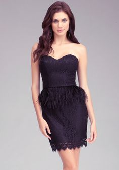 bebe   Strapless Feather Waist Dress - Cocktail - This is cute too!!! Can I turn 30 at least 2 more times? Please????