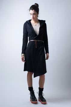 Long Sleeve Knitted Vest/Hooded Coat Knitted Cardigan/ Lagenlook Asymmetric Jacket - Model 39-1