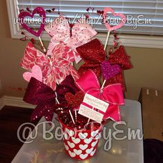 Valentines Day Cheer Bow Basket  on Etsy, $85.00