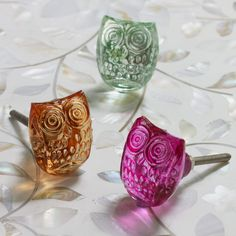 Update your drawers & cupboards with these cute cut glass owl knobs.