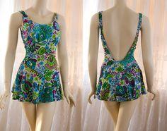 09e225bb5077 Items similar to Vintage Rose Marie Reid swimsuit with asymmetrical flutter  skirt in paisley print on Etsy