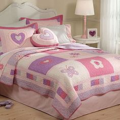 Girl's Hearts and Butterflies Quilt Bedding