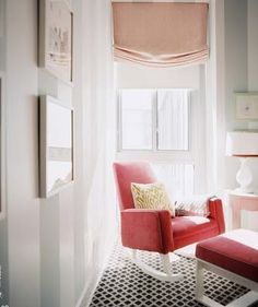 Timeless sophistication rules in this nursery with its striped walls and bright raspberry rocking chair. - Traditional Home ® / Photo: Patrick Cline / Design: Sara Gilbane Rocking Chair Nursery, Rocking Chairs, Nursery Rocker, Striped Walls, Striped Nursery, Nursery Stripes, Sofa Couch, Nursery Inspiration, Color Inspiration
