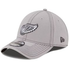 Men's Detroit Red Wings New Era Gray Shader Classic 39THIRTY Flex Hat LARGE HEAD, NOT XL, JUST LARGE