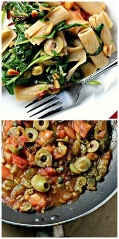 pasta with tomatoes, pine nuts and raisins