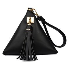 Solid Color Triangle Shape Tassel Clutch Bag (£74) ❤ liked on Polyvore featuring bags, handbags, clutches, tassel purse and tassel handbags