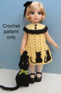 This is Halloween Silhouettes, my own crochet pattern that I designed for a 10-12 inch child doll, such as Patsy and Ann Estelle by Tonner,