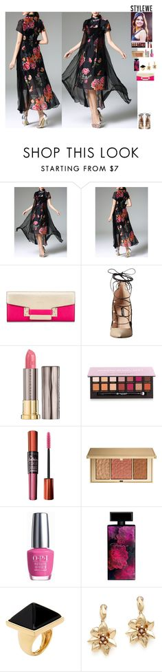"""""""Event StyleWe"""" by eliza-redkina ❤ liked on Polyvore featuring Ruthie Davis, Urban Decay, Anastasia Beverly Hills, Maybelline, Estée Lauder, OPI, Elizabeth Arden, Kenneth Jay Lane, Oscar de la Renta and outfit"""