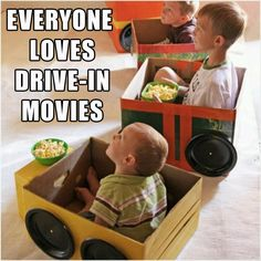 6 make toy cars for kids, in boxes, to watch a movie