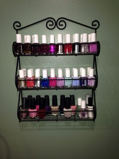 Do you have too many polishes and not enough space? A simple wire spice rack can do the trick! I got mine off of Amazon for about $15 and I LOVE it. It makes me feel like my bathroom is my very own salon ;)