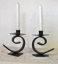 Wrought Iron Candle Holder by GreenMtFireandHammer on Etsy Mais Wrought Iron Candle Holders, Custom Metal Fabrication, Wrought Iron Decor, Iron Furniture, Candle Stand, Blacksmithing, Candlesticks, Candleholders, Candle Sconces