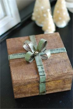 Wood and Reclaimed Metal Gift Box with Bow