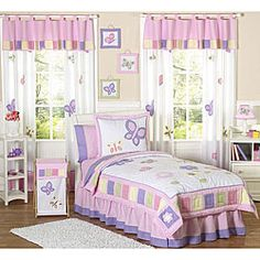 Pink and Purple Butterfly 4-piece Twin-size Girl's Bedding Set