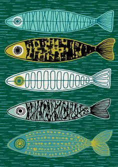 Five Fish, limited edition giclee print