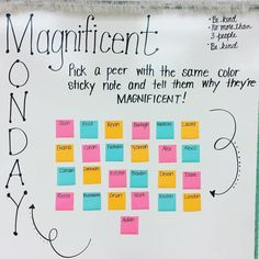 Ready for Monday! Great way for students to interact with other students outside of their circles Classroom Organization, Classroom Management, Classroom Ideas, Classroom Displays, Behavior Management, Classroom Resources, Management Tips, Class Meetings, Morning Meetings