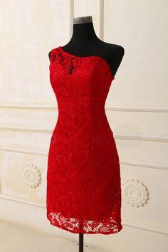 Custom One Shoulder Lace Wedding dress S508. $169.00, via Etsy.