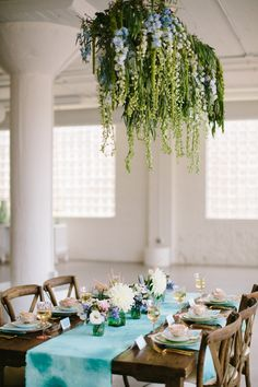 Monet Inspired Styled Shoot Suspended Floral Focal at Room 1520
