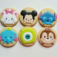 Disney Tsum Tsum cookies - Marie, Mickey Mouse, Stitch, Dumbo, Mike Wazowski, Chip/Dale