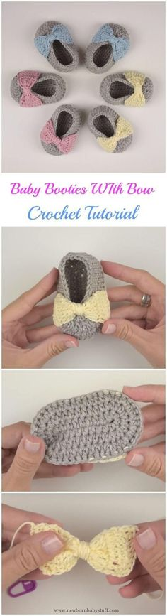 Crochet+Child+Booties+Crochet+Child+Booties+with+Bow+++Crochet+Baby+Booties