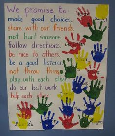 """Our Promise To Each Other - Social Contract.  To make it official, students put their """"I promise"""" hand print on the poster.  Older students could also sign their hand."""