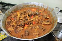 A pretty standard stew recipe...just using goat meat.  Slow Cooker Goat Stew