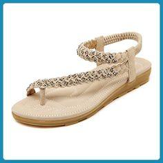 Aisun Damen Bohemian Bunt Perlen Flach Zehentrenner Sandale Aprikosenfarben 40 EU hRhJ1