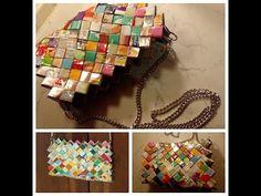 Como hacer carteras/bolso con bolsas de sabritas/Como hacer un bolso con sabritas/Candy wrapper bag - YouTube Candy Wrapper Purse, Candy Wrappers, Candy Bags, Recycled Crafts, Diy And Crafts, Newspaper Crafts, Craft Organization, Easy Paintings, Diy Tutorial