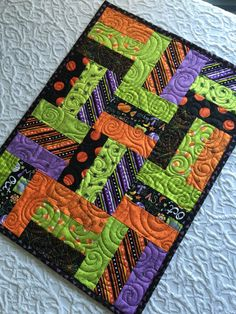 Halloween Patchwork Table Runner Quilt - Orange - Black - Lime Green by…