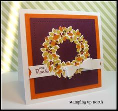 ;handmade Thanksgiving card from stamping up north ... Wondrous Wreath is warm Fall colors ... Stampin' Up!
