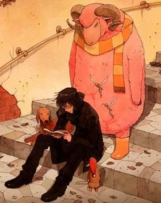 Do not read while sitting on the stairs because someone might need to get past. Art by Tetsuro Kasahara