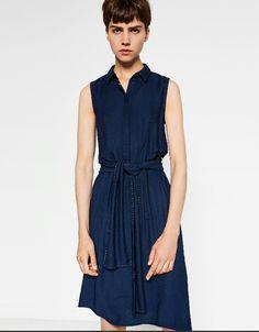 Mid length zara dress Zara Dresses, Casual Dresses, Dresses For Work, Summer Dresses, Vestidos Zara, Basic Wardrobe Essentials, Wardrobe Basics, Camisa Formal, Laced Up Shirt