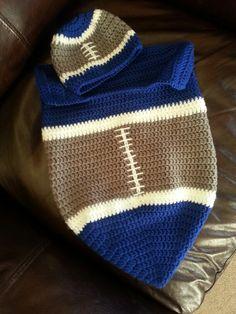 Crochet baby cocoon and hat set Dallas cowboys football!