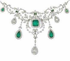 A belle époque emerald and diamond necklace, circa 1910 x