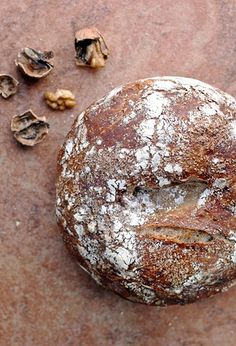 No knead walnut bread. For full recipe click on image. Repinning to link to recipe, not just image