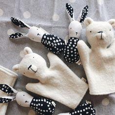 Super sweet handmade polar bear puppets and bunny rattles at bitteshop.com