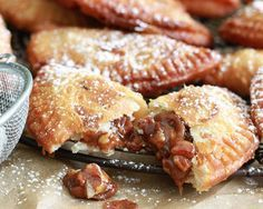 "Fried Pecan Pies - Oooey Goooey Goooood... so ""Gooooeeeeyyyd"" :)    Filling: Brown Sugar, Corn Syrup, Butter, Pecans, Vanilla Extract!!"