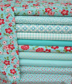 Blue. Red and pink fabric