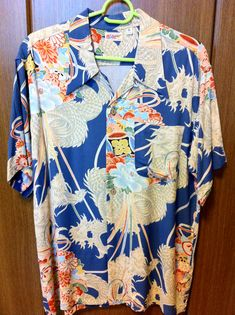 Sun Surf M32687 NAVY DRAGON&FLOWERS #1 Vintage Hawaiian Shirts, Dragon Print, Bowling Shirts, Aloha Shirt, Tropical Pattern, Thunder, Pattern Design, Surf, Oriental