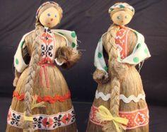 Pair of Russian Straw Dolls Traditional Costume Folk Art