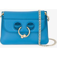 J.W. Anderson mini Blue Pierce messenger bag (£975) ❤ liked on Polyvore featuring bags, mini messenger bag, mini bag, blue crossbody bag, genuine leather messenger bag and crossbody bag
